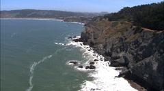 Aerial USA California Bay Pacific ocean cliffs coastline Stock Footage