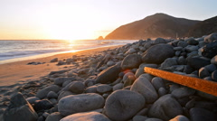 Motion Control Dolly Shot of Sunset Seascape in Malibu Beach -Dolly Up- Stock Footage