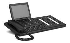 modern office desk phone isolated on white background - stock illustration