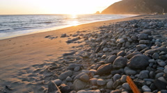 Motion Control Dolly Shot of Sunset Seascape in Malibu Beach -Dolly In- Stock Footage