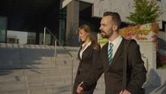CLOSE UP: Business people going home from work Stock Footage