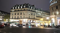 Authentic street view in Paris by night - wonderful mansions - stock footage