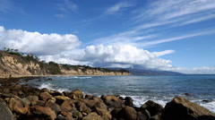 Time Lapse of Cloud Seascape at Malibu Beach -Tilt Up- Stock Footage