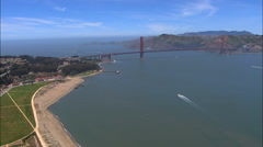 Aerial San Francisco USA California coastline Golden Gate Stock Footage