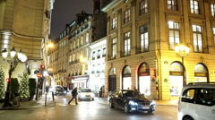Stock Video Footage of Authentic street view in Paris - great night shot