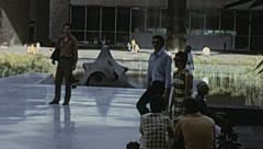 Mexico city 1973: people walking in a square Stock Footage