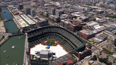 Stock Video Footage of Aerial Francisco City California USA AT&T Park baseball