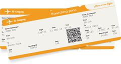 Vector image of two airline boarding pass tickets - stock illustration