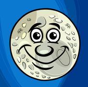 man in the moon saying cartoon - stock illustration