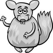 funny chinchilla cartoon illustration - stock illustration