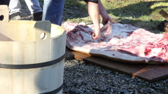 Traditional Meat Preparation Stock Footage