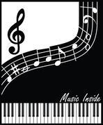 music inside black and white - stock illustration