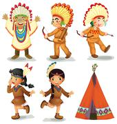 American Indians - stock illustration
