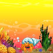 A shell under the sea - stock illustration