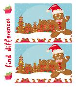 find differences -  gingerbread santa - stock illustration
