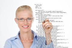 Blond woman correcting a script Stock Photos