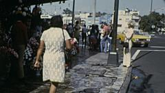 Mexico city 1973: flower stand in the street Stock Footage