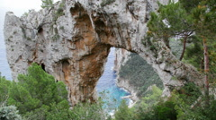 Natural Arch on Capri Stock Footage