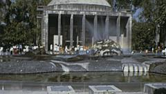 Mexico city 1973: people walking in a public square Stock Footage