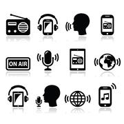 Radio, podcast app on smartphone and tablet icons set Piirros