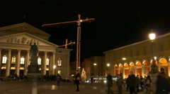4K FHD European city Germany Munich Max Joseph square with cranes at Christmas Stock Footage