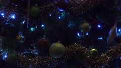 4k Close up of festive Christmas tree with decoration Stock Footage
