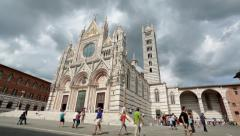 Siena Italy Cathedral tourists vacation HD Stock Footage