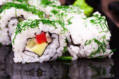 vegetarian sushi roll - stock photo