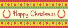 vector christmas decoration background with horseshoes and text - stock illustration