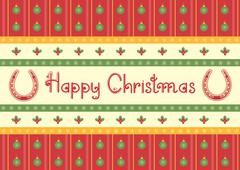 christmas decoration background with horseshoes and text - stock illustration