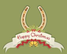Christmas horseshoe background with holly berry and bells Stock Illustration
