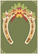 christmas horseshoe card with holly berry leaves decoration - stock illustration