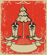 grunge red christmas card with cowboy boots and fir-tree on old paper - stock illustration