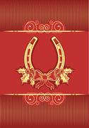 Horseshoe on red christmas background with holly berry Stock Illustration