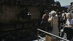 Teotihuacan 1973: people visiting the pre-Colombian site - stock footage
