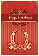 Horseshoe on red christmas background with holly berry and text Stock Illustration
