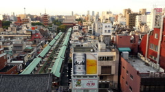 Above View of Busy Street Market Near Sensoji Temple - Tokyo Japan Stock Footage