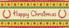 Vector christmas decoration background with horseshoes and text Stock Illustration