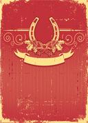 Horseshoe on vintage red christmas background with holly berry decoration Stock Illustration