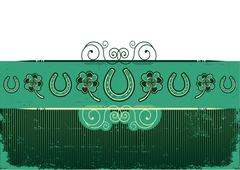 vintage st. patrick's day abstract background with horseshoes decoration on o - stock illustration