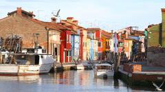 Houses of the island of burano with waterway near venice Stock Photos
