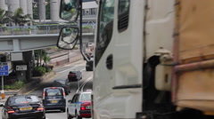 Vehicles drive on a flyover in Hong Kong Central. Stock Footage