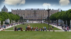 Crowds Of Tourists At Versailles, France Stock Footage