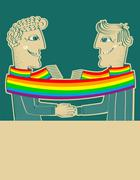 Happy gays couple with hands together.vector background for text Piirros