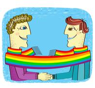 Happy gays couple with hands together.vector cartoons image Piirros