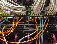 rack in the data center - stock photo