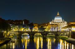 rome, angels bridge and st. peter - stock photo