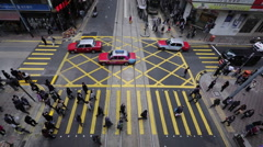 Time Lapse of pedestrians and taxis in downtown Hong Kong Stock Footage