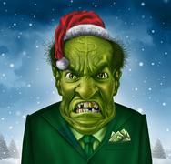 greedy holiday boss - stock illustration