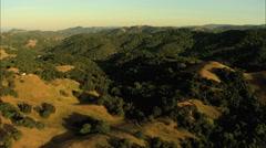 Aerial USA California Pacific farmland vegetation - stock footage